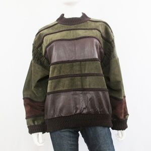 Saxony   Vintage Leather Suede Oversized Sweater